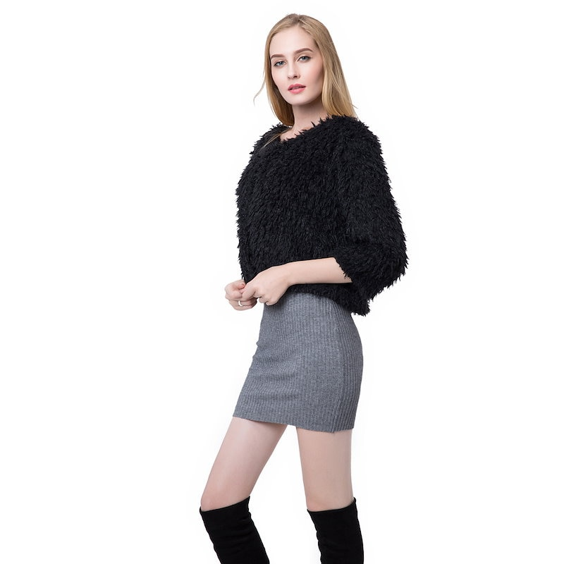 New Women Winter Fluffy Shaggy Coat Faux Fur Round Neck 3/4 Sleeves Hook and Eye Outerwear White/Black