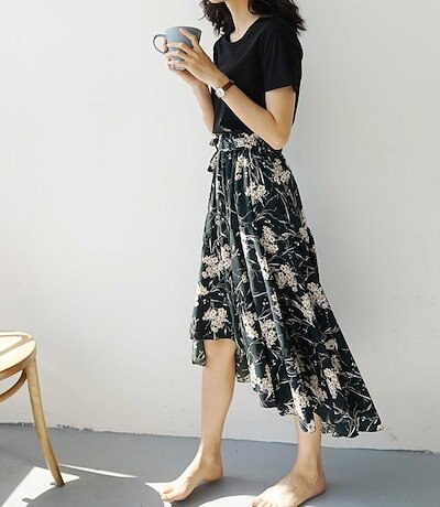 【送料無料】 フレアスカート ロング ロングフレアスカート フレアスカート大きいサイズ フレアスカート春 夏 花柄 フィッシュテール