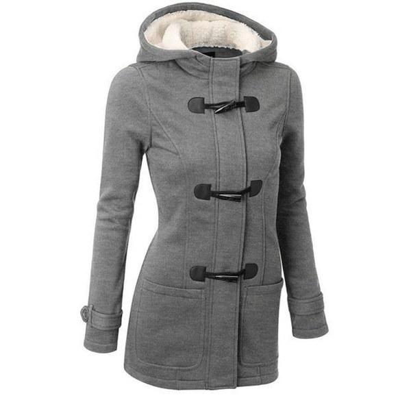 レディースファッションホットセール冬レディースフード付き厚手コートウールブレンドコートホーンバックルレザージャック