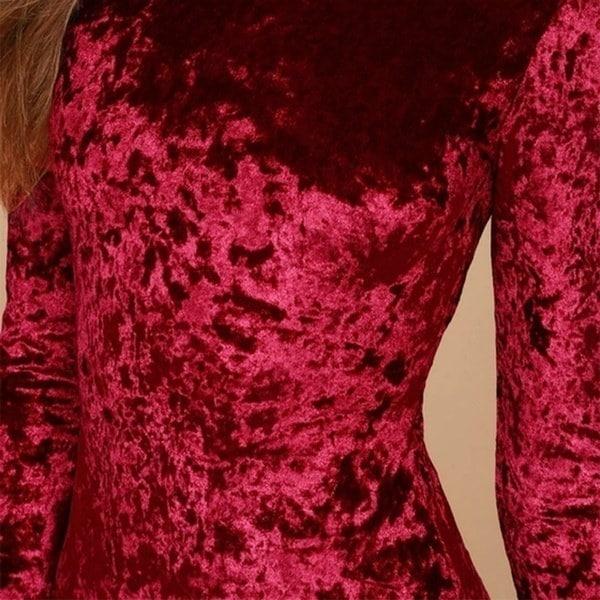女性ファッションロングスリーブウィンタードレスベルベットカクテルドレスウエディングドレスボディコンノースリーブバギーバ