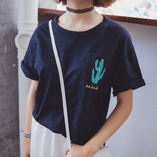ブランドファッション夏の女性エレガントサボテンプリントホワイトTシャツOネックカジュアルブランドTシャツトップス