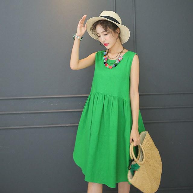 夏ノースリーブリネンフレアワンピースリゾートルックバカンスルックデイリールックkorea women fashion style