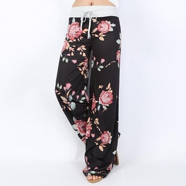 ファッション女性の花プリントカジュアルなヨガパンツルーズなズボン