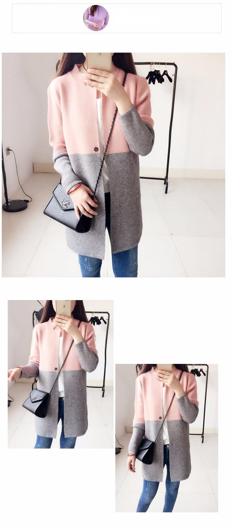 【送料無料】ゆるい大きなヤードの長いセクションは、カラーニットカーディガンのセーターコートの女性をヒット
