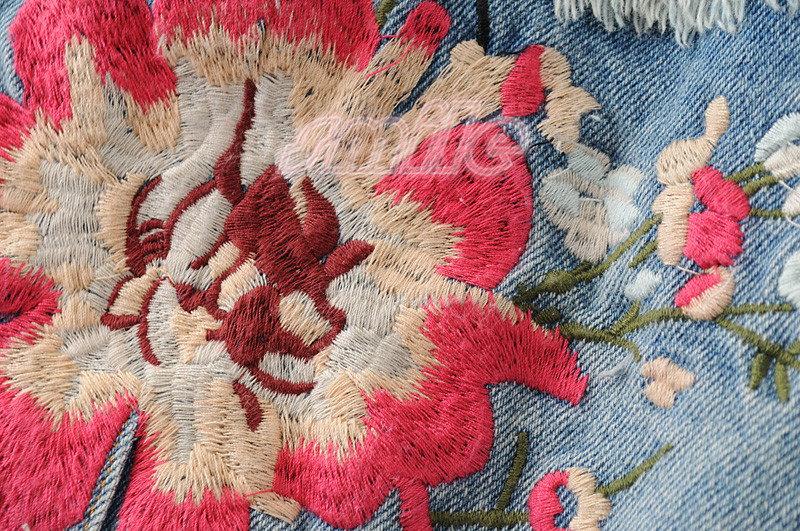 レディース デニム コート  韓国風 ゆったり 可愛い ブラウス  2017新品 刺繍 着痩せ ダメージ 長袖 スプリングコート