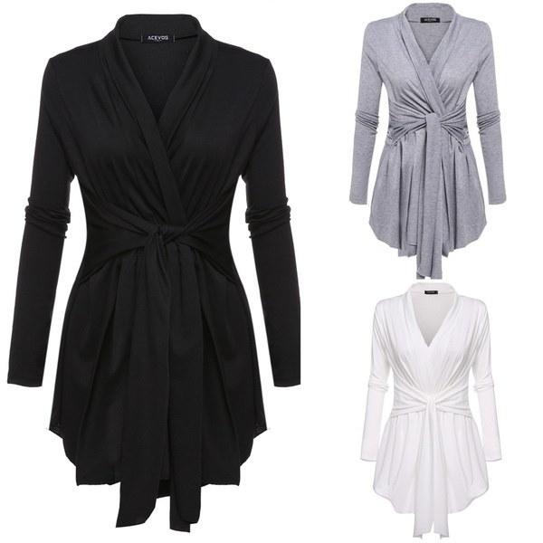 Women s Fashion V-Neck Asymmetric Hem Wrap Lace Up Belted Slim Casual Cardigan Tops