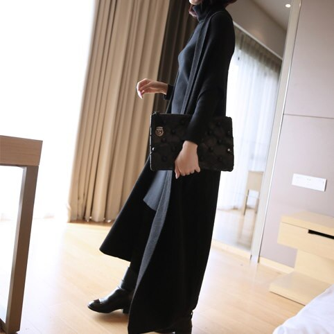 【EMS送料込】ニット素材 ゆったり変形ロングジレ/全4色