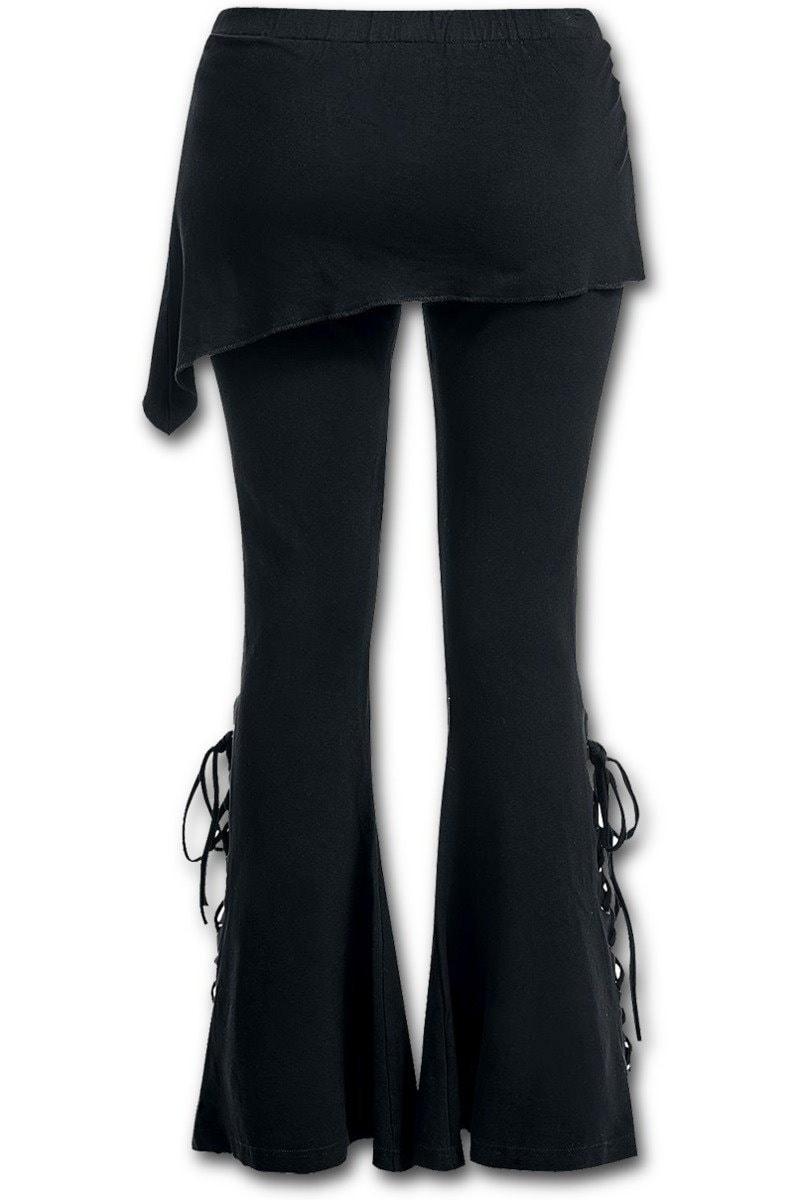レディースブーツカットレギンス(2インチ)(マイクロスラントスカート付き)ゴシックパンクレースアップベルボトムレギンス