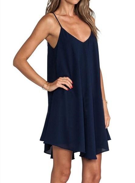 ホットセール女性のセクシーなストラップワンピースノースリーブバックレスサマードレスVネッククラブドレス