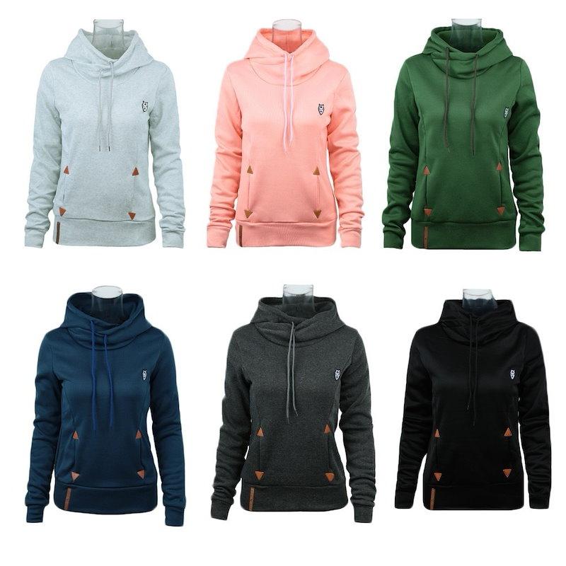 女性のためのファッションカジュアルセルフタイツポケットプルオーバーフード付きスエットシャツ