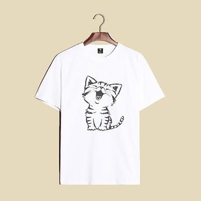 ヒップスターブランド漫画猫プリント若いティーンエイジャーガールズボーイTeeトップ夏カジュアルルーズTシャツプラスサイズ