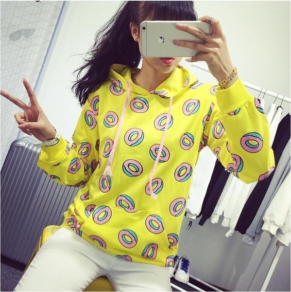 spring summer women s  Cute Donut Print Pullovers Hoodies coat Sweatshirts