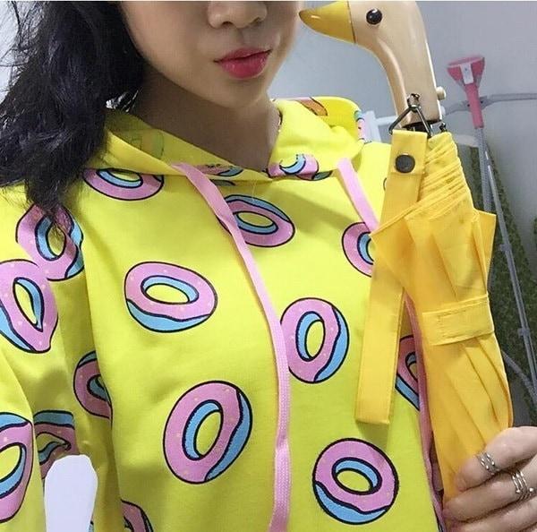 spring summer women s  Cute Donut Print Pullovers Hoodies coat Sweatshirts