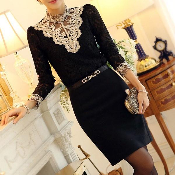 女性のかぎ針編みのブラウスレースシフォンシャツ(アジアンサイズ)