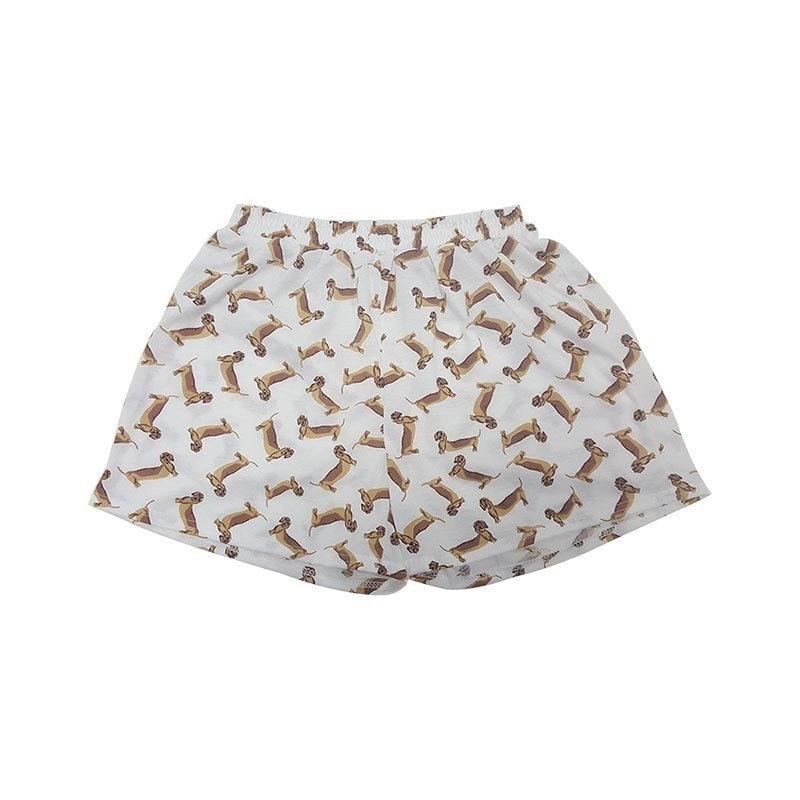 女性のダックスフンド犬や象のプリントセット2個パジャマスーツクロップトップ+ショーツストレッチラージ