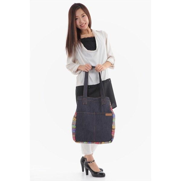 大容量 持ちやすい デニム風生地がかわいいトートバッグ!肩掛け マルチカラーレディース 鞄 カバン