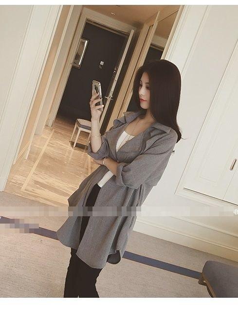 シャツジャケット ゆったり 大人スタイル コート ハーフ丈 羽織り カーディガン チェック グレー系 シャツ ロング 長袖 体型カバー セレブ キレイ アウター レイヤード スーツ フリーサイズ 韓国 ファッション レディース 美 (65-77) ※納期に10日から14日ほどかかります。