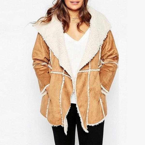 プラスサイズ7XLスエードジャケット冬のターンダウンカラーラムファーアウターパッチワークコート