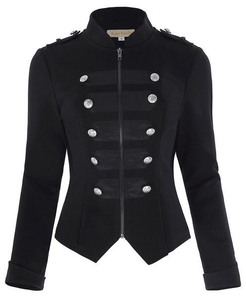 女性のジッパーボタンコートジャケットブラックゴシックVINTAGE軍隊Steampunk Outwear