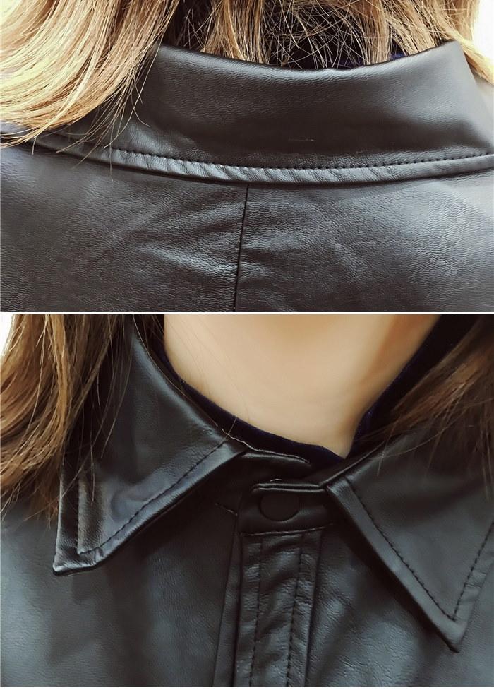 ★PUレザーブラックシャツジャケット★レザージャケット シャツ ブラウス レザーシャツ レザージャケット トップス カットソー シンプル ベーシック トレンド ドルマン ゆったり レディース オシャレ