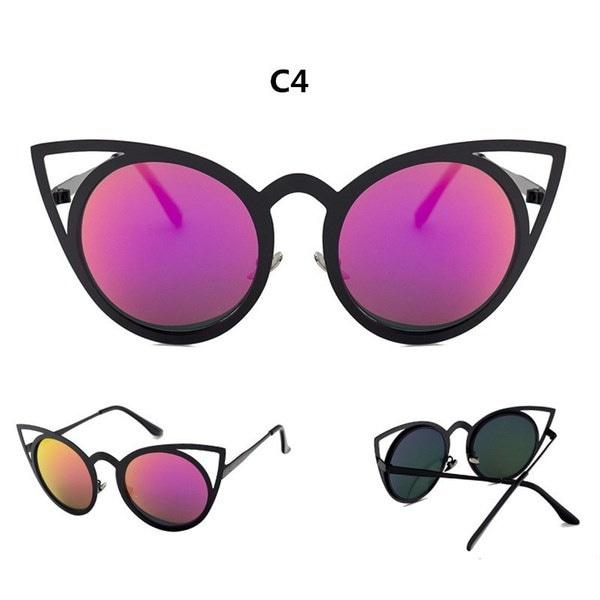 女性のサングラスヴィンテージキャットアイサンメガネメタル眼鏡フレームミラーシェードセクシーなサニー