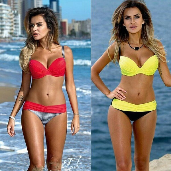 最新のセクシーなビキニ女性ファッションスイミングスーツビーチビキニブラケットでAJMを集める