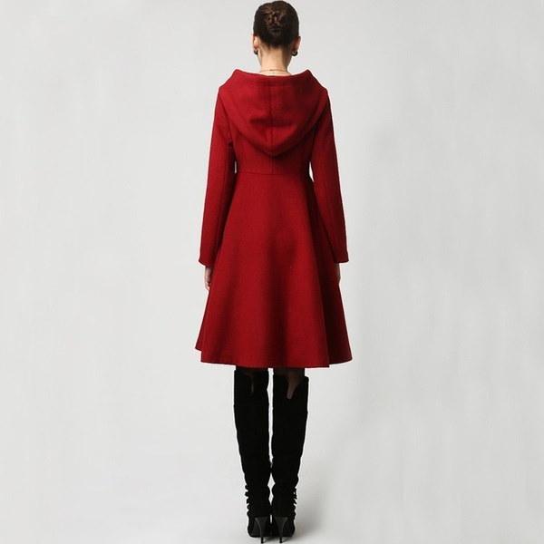 2017ファッションレディースシングルブレストフード付きロングウールコート