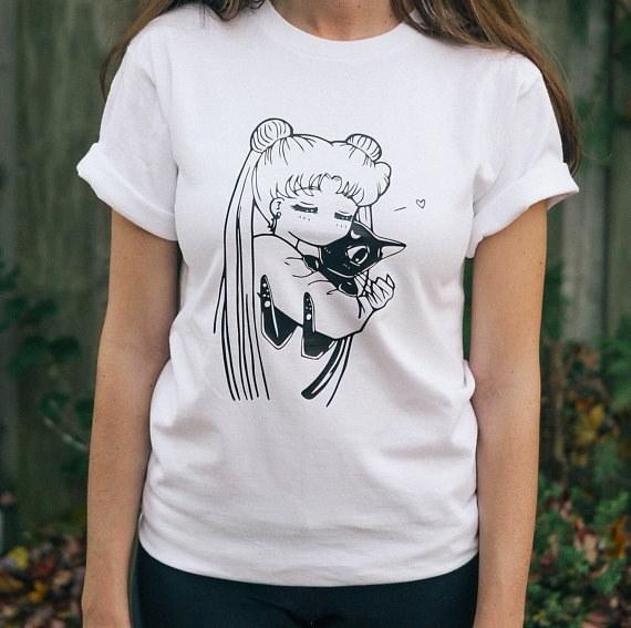 セーラームーンウサギルナアニメTシャツ女性カワイイ日本アニメTシャツカジュアルルーズプリントティーシャツ