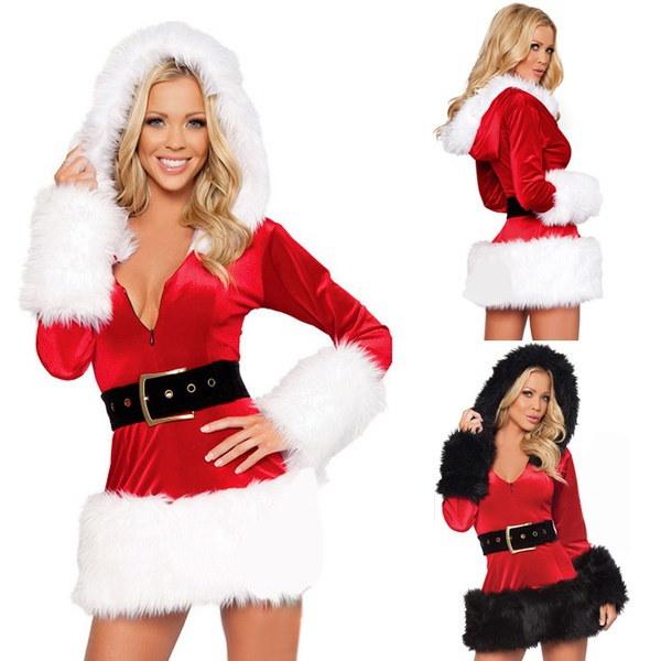 ホットな女性サンタクロースの父のクリスマスのファンシードレススーツの衣装Xmasの衣装F_F