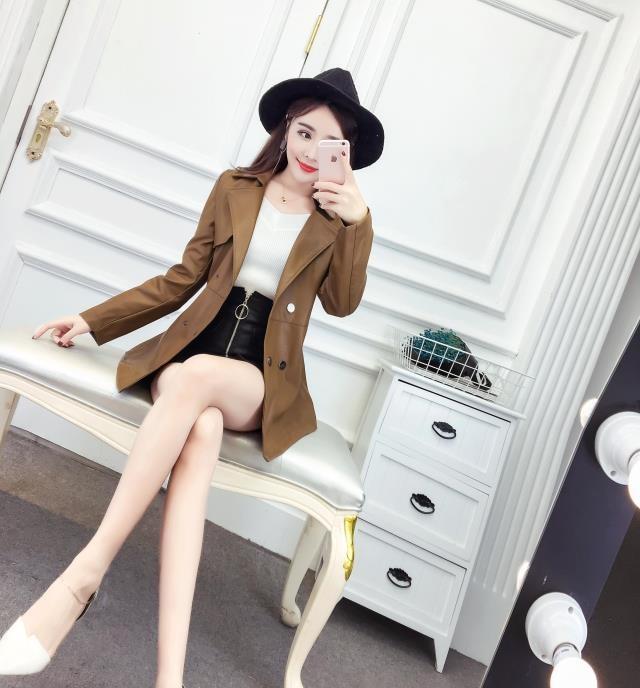 [55555SHOP]春秋 レディースジャケット レザージャケット 韓国ファッション ライダース 革ジャン レディースファッション PU革 アウターコートフェイクレザー