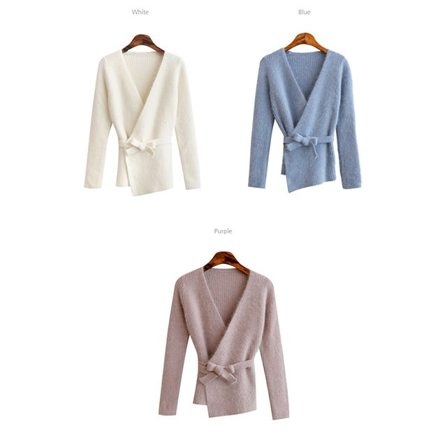ウルラのINGブルーちゃんアンゴラニットティーラップニットアンゴラカーディガン段ボールニットデイリールックデイリーバックkorea women fashion style