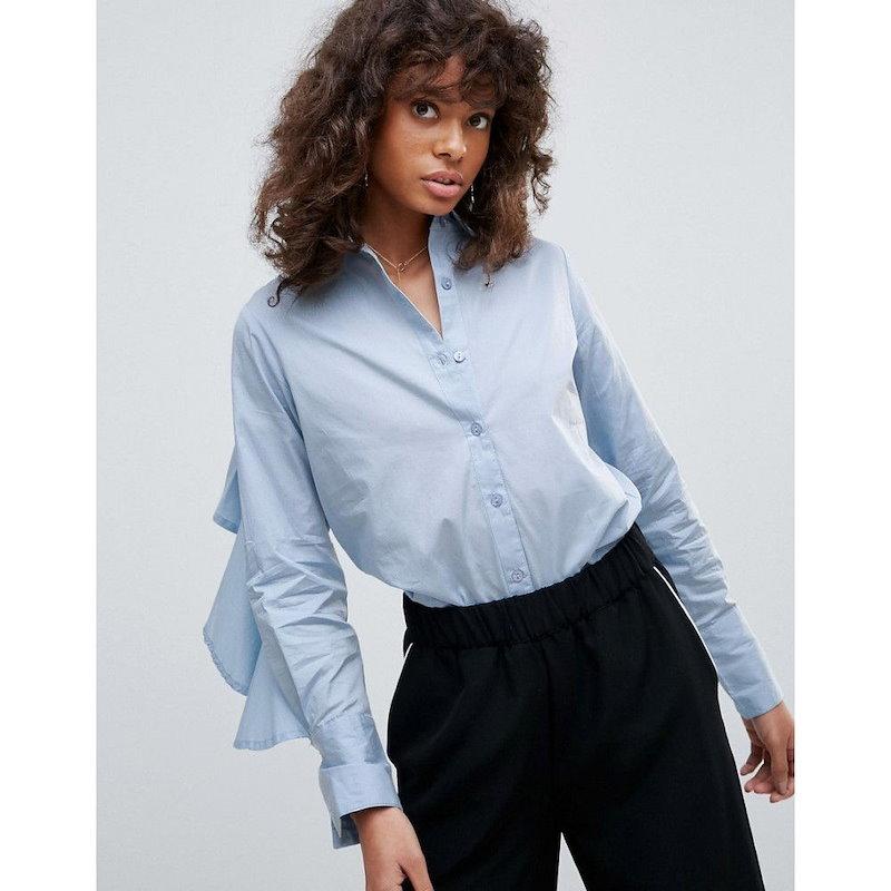 ネオンローズ レディース トップス【Neon Rose Ruffle Back Shirt】Blue