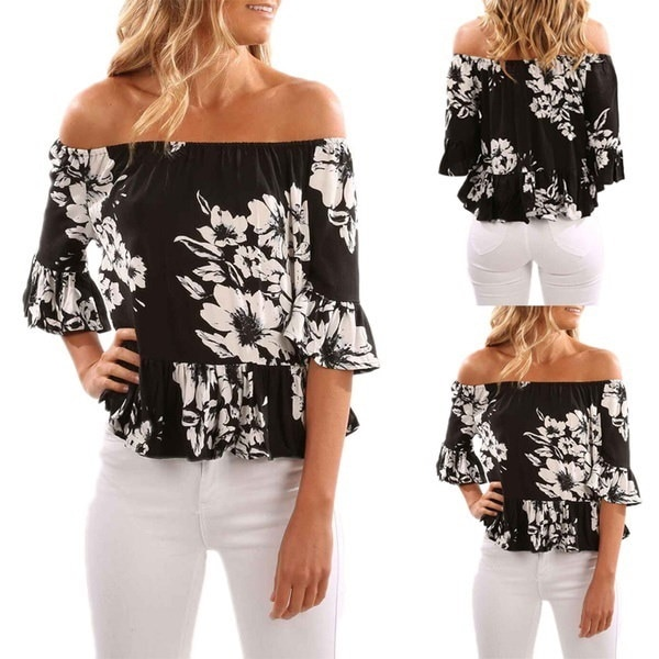 Hot Women s Sexy Short Sleeve Off Shoulder Tops Loose Shirt