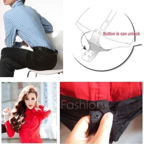 女性のエレガントなロングスリーブコットンOLボディースーツシャツブラウスボタンデザイン3色4サイズVVF