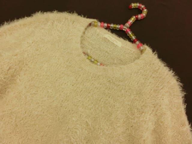 美品♪ chocol raffine robe/ショコラフィネローブ 長袖 丸首 ニットセーター F ベージュ系【中古】