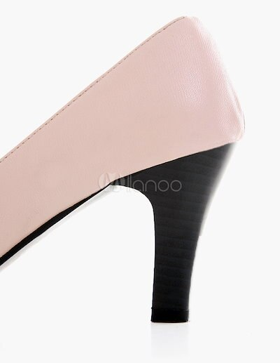 Attractive Chunky Heel PU Leather Almond Toe Women s High Heels