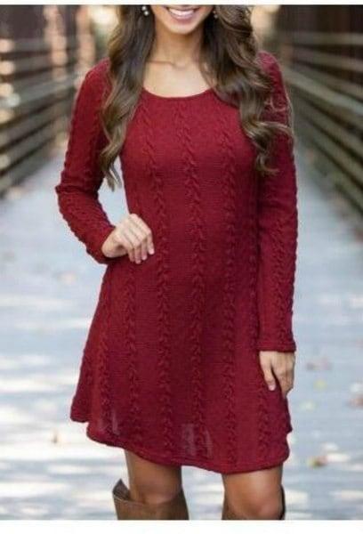 冬の女性の厚いラウンドネックプルオーバーニットセーターロングスリムセータードレス
