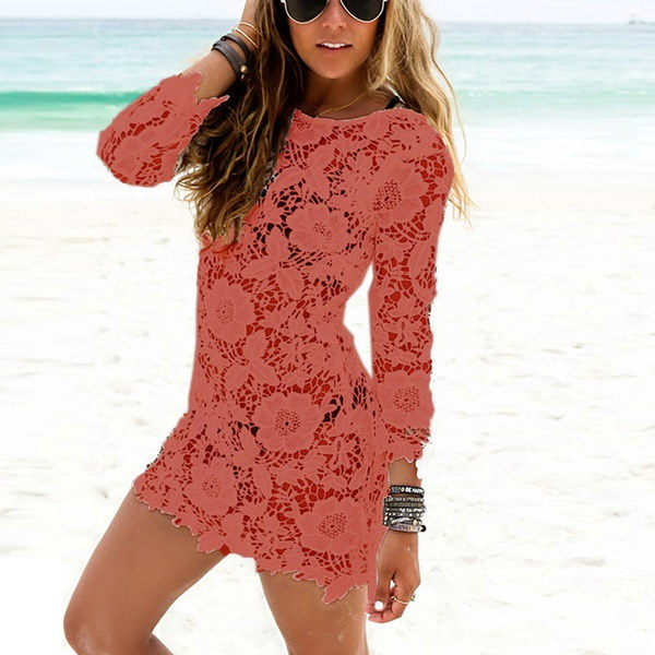 レディースレースかぎ針編みタッセルビキニビーチドレス水着カバー