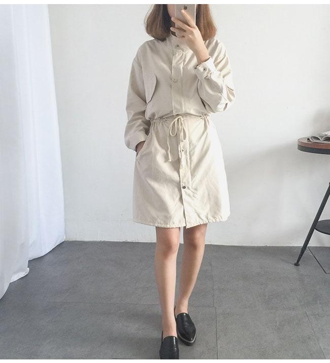レディース服 女性 アウター コート オーバー 秋服 お洒落 韓国ファッション ノーカラー アウトドア 薄手 カジュアル ひも 無地
