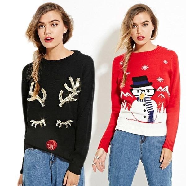 新しいファッションファッション女性クリスマスセーターラブリースノーマンツリースノーフレークスパンコールプルオーバーロングスリーブ