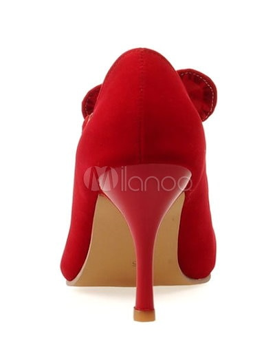 Red Bows Micro Suede Pointy Toe Heels for Women