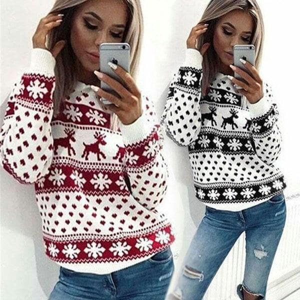 レディースファッションクリスマストナカイプリントTシャツプラスサイズプルオーバークリスマストップス