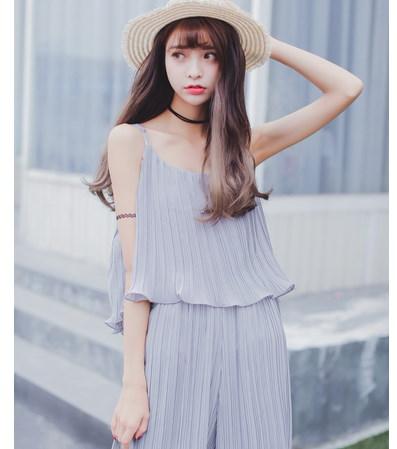 【送料無料】 シフォンのガーターの連体の荷葉 オールインワン ファッションの女王は トレンドのワイドパンツがモードで新鮮な印象のオールインワン オールインワン・オーバーオール・ワンピース・ロンパース上品 素材通気性高い涼しい 袖な サルエルパンツ ゆったりシルエット体型カバー