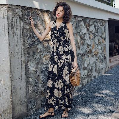 花柄 ロングワンピース ワンピース 結婚式 ドレス 20代 大人可愛い エレガント マキシ丈 vネック バックリボン