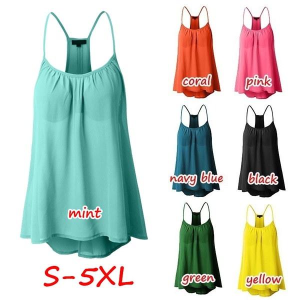女性のファッションプラスサイズoネックスパゲッティstapルーズ純粋な色のシフォンタンクトップZH5460