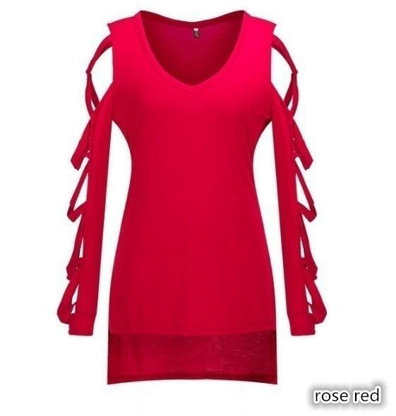 女性ファッション秋セクシーなブラウスディープVクロスストラップ長袖レディースカジュアルスプリットTシャツコットンT
