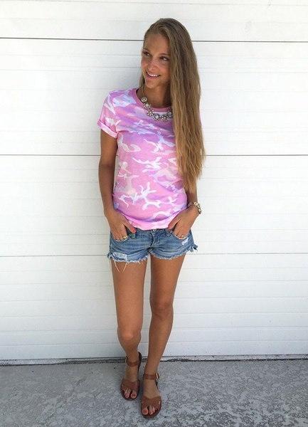 女性の夏のカモフラージュアーミーグリーンTシャツ半袖カジュアルTシャツ