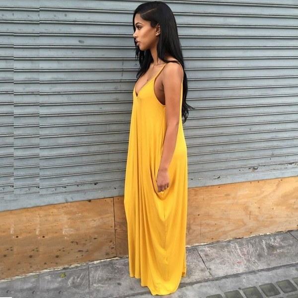 ソフトミルク繊維ノースリーブポケットドレス女性セクシーなVネックバックレスサンドレス女性のビーチBohoロング