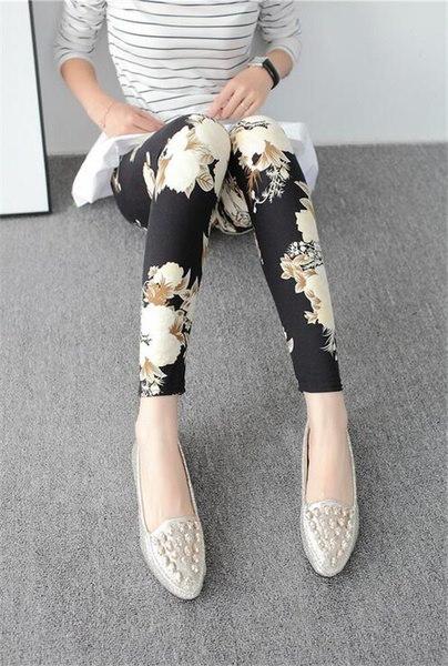 ファッション花柄プリントレギンス鉛筆パンツ女性レディースストレッチスキニーパンツズボン(Colo