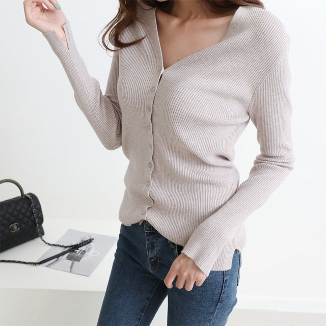 [Dimming] button V-neck knit 5 color fall knit cardigan combined fall cardigan fall cardigan cardiga